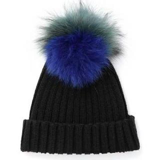ルシェルブルー(LE CIEL BLEU)のROSEさん専用 ルシェルブルー ファーニット帽 美品 送込み(ニット帽/ビーニー)
