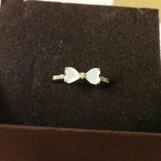 K10 リボンのリング 5号 ネックレスのセット(リング(指輪))