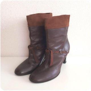 マークジェイコブス(MARC JACOBS)のMARC JACOBS♡本革×スエードのショートブーツ 22.5cm(ブーツ)