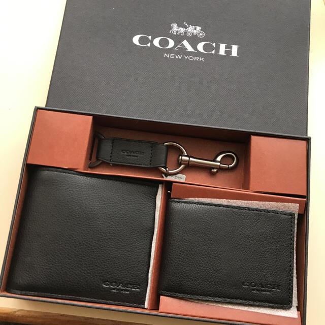 6631b5fd0eb5 COACH - 新品 COACH コーチ 財布 パスケース キーリング メンズギフト3点 ...