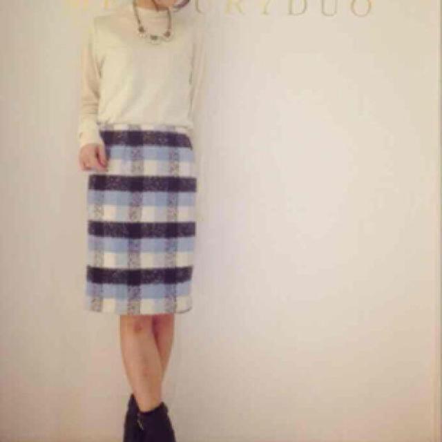 MERCURYDUO(マーキュリーデュオ)のMERCURYDUO チェックペンシルスカート チェックスカート ブルー レディースのスカート(ミニスカート)の商品写真