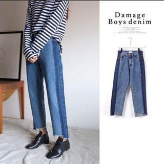 スタイルナンダ(STYLENANDA)の韓国ファッション 新品 切りっぱなし 切替 ストレートデニム ダメージ 大きめ(デニム/ジーンズ)