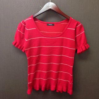 ルチカ(Luccica)の♡LUCICCA (ルシカ)♡半袖 ラメボーダー 赤ニット トップス(ニット/セーター)