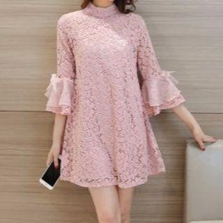 フリルスリーブレースワンピースドレス ピンク(大きいサイズ)(ミニワンピース)