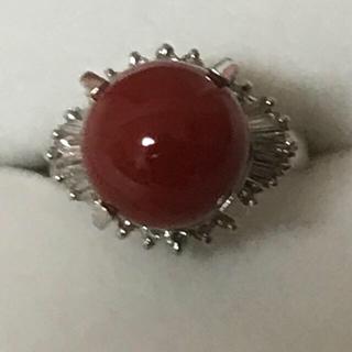 赤血珊瑚天然ダイヤモンドpt900リング(リング(指輪))