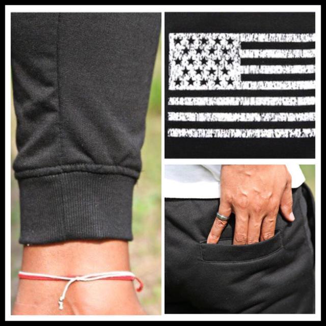 ☆ プリントパンツ スウェット ジョガーパンツ ブラック 星条旗 国旗 ☆ メンズのパンツ(デニム/ジーンズ)の商品写真