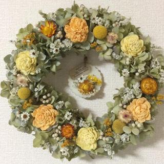 お花いっぱいドライフラワーリース&ホワイトムスクアロマサシェセット(ドライフラワー)