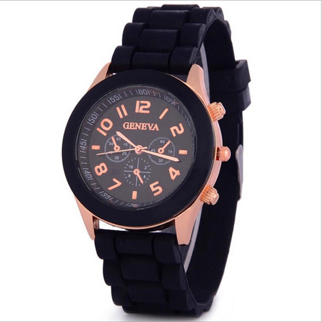 ♡様専用 おしゃれ♢ビビットカラーシリコン 腕時計  watch-w-08黒 レディースのファッション小物(腕時計)の商品写真