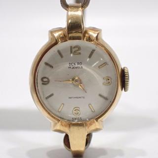 A458 DEN-RO デンロ 17jewels 手巻き 金無垢 K18(腕時計)