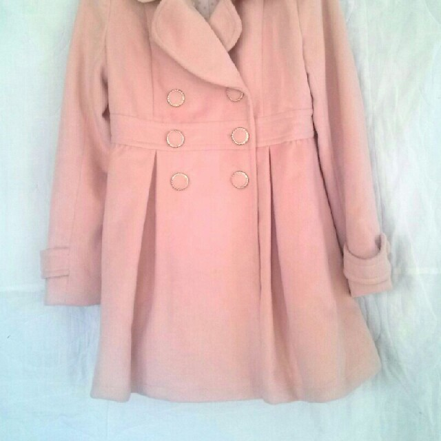 プリーツコート*ピンク レディースのジャケット/アウター(ピーコート)の商品写真
