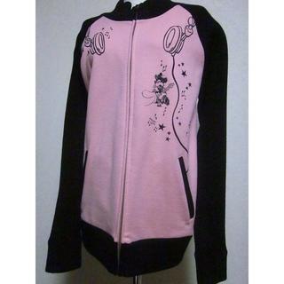 ディズニー(Disney)のDisney ミニー ジャケット 袖がニットなスェット LL ジップ ピンク 黒(その他)