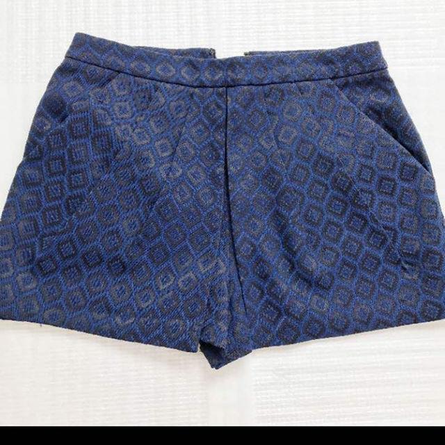 ショートパンツ  オルテガ柄 ブルー xs レディースのパンツ(ショートパンツ)の商品写真
