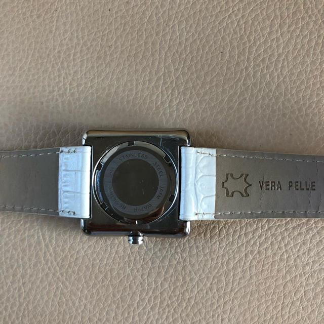 NEWMAN ニューマン 腕時計 シルバー文字盤 白ベルト 美品 レディースのファッション小物(腕時計)の商品写真