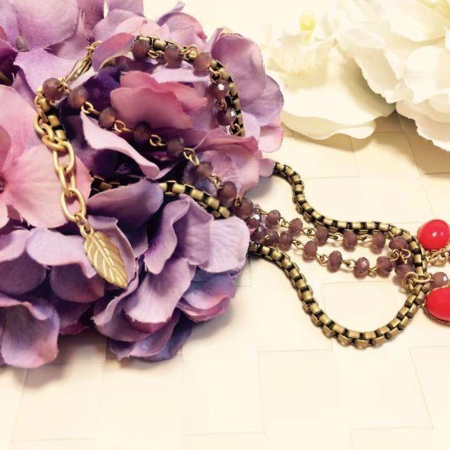 ❤️デイヴィッド オーブリー ヴィンテージガラス ビジューネックレス ゴールド レディースのアクセサリー(ネックレス)の商品写真