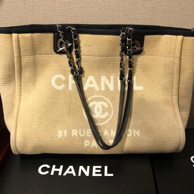 a066540ebae6 CHANEL(シャネル)のシャネル☆ドーヴィル☆ベージュキャメル チェーン トートバッグ箱付き