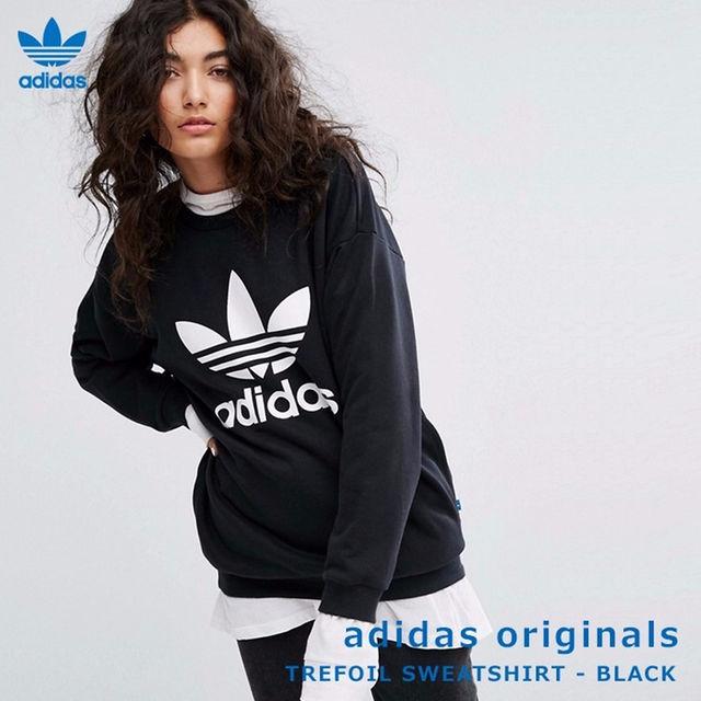 adidas(アディダス)の【日本サイズL】adidas★ビッグシルエットトレーナー ブラック レディースのトップス(トレーナー/スウェット)の商品写真