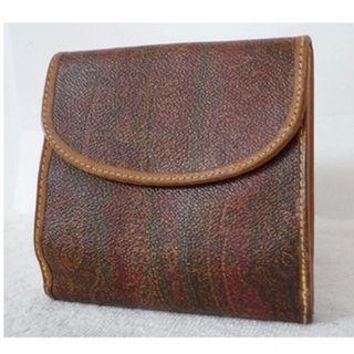 エトロ(ETRO)の☆エトロ ETRO PVC×レザー ペイズリー柄×茶 二つ折り財布☆(財布)