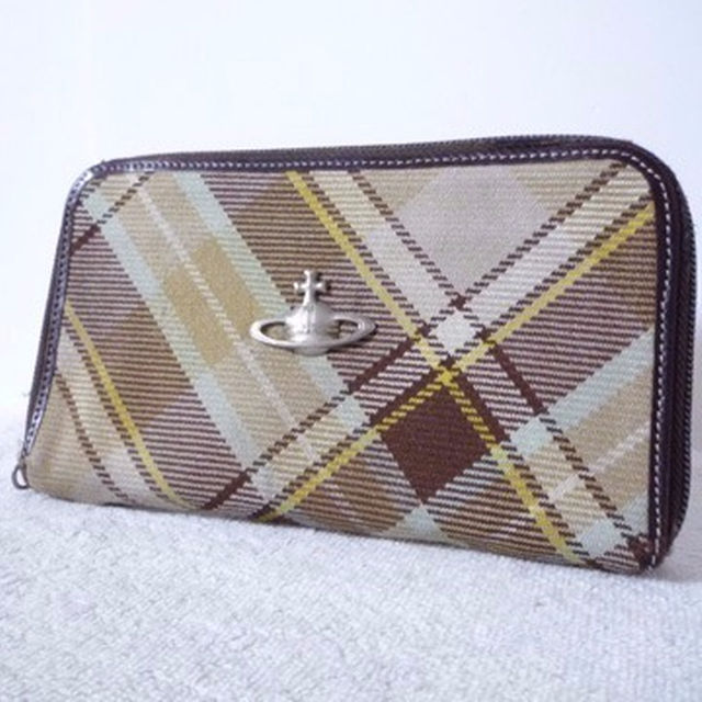 Vivienne Westwood(ヴィヴィアンウエストウッド)の☆ヴィヴィアンウエストウッド 茶系チェック柄×ダークブラウン 長財布☆ レディースのファッション小物(財布)の商品写真