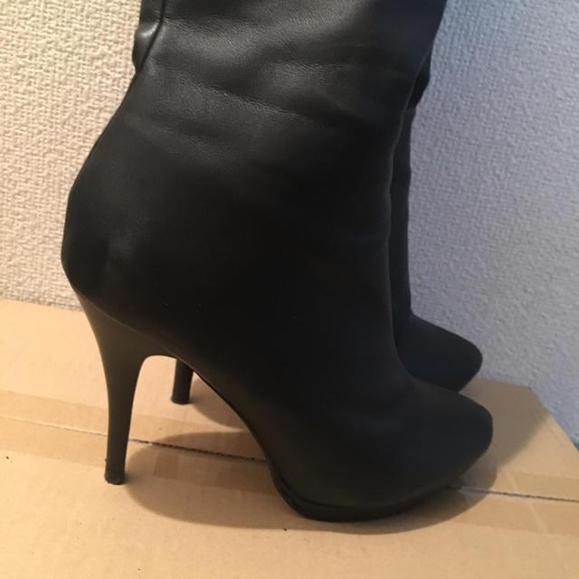 ESPERANZA(エスペランサ)のニーハイブーツ 美品 スムース 黒 合皮 レディースの靴/シューズ(ブーツ)の商品写真