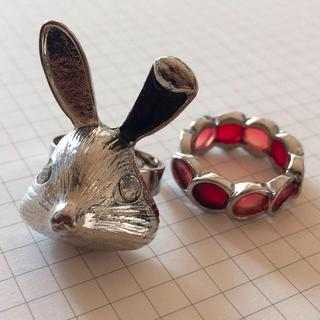 アッシュペーフランス(H.P.FRANCE)のうさぎ&飴ステンドグラスリングセット(リング(指輪))