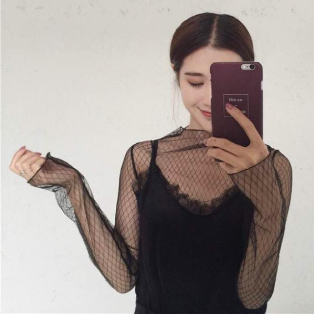 新品 シースルー    レーストップス フィッシュネット ブラック レディースのトップス(カットソー(長袖/七分))の商品写真