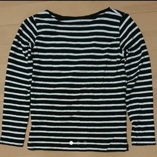ムジルシリョウヒン(MUJI (無印良品))の無印良品 オーガニックコットン太番手ボーダー長袖Tシャツ 婦人S・黒×白(Tシャツ(長袖/七分))