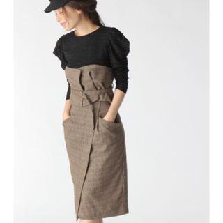 ミスティウーマン(mysty woman)のグレンチェックコルセット付き2WAYタイトスカート(ひざ丈スカート)