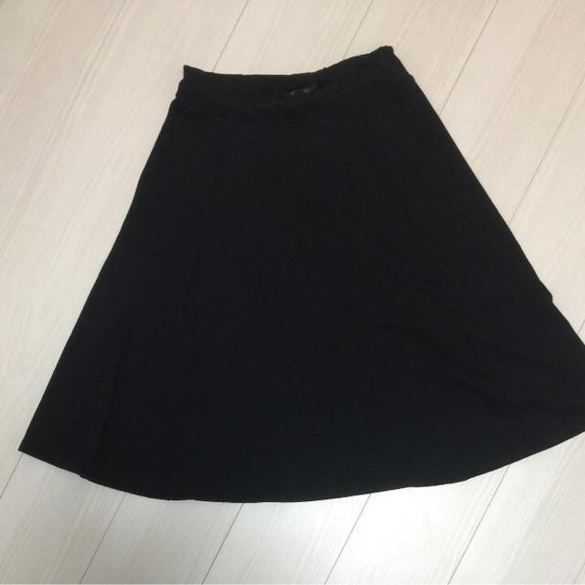 heather(ヘザー)のフレアスカート 黒 ウエストゴム 膝下 レディースのスカート(ひざ丈スカート)の商品写真