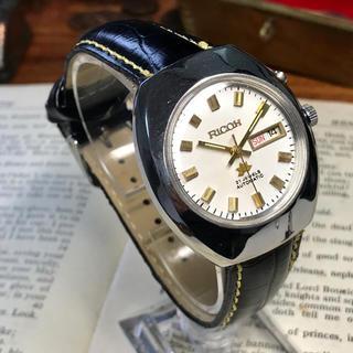 リコー(RICOH)の80's Vint. リコー 自動巻メンズウォッチ OH済 ホワイト/ゴールド(腕時計(アナログ))
