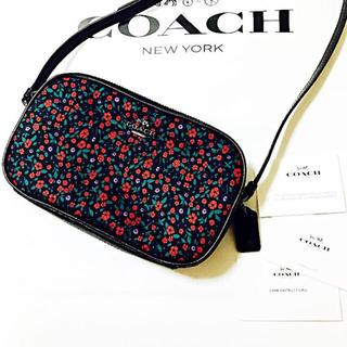 コーチ(COACH)のラスト1点◎ COACH 花柄 ショルダーバッグ 赤(ショルダーバッグ)