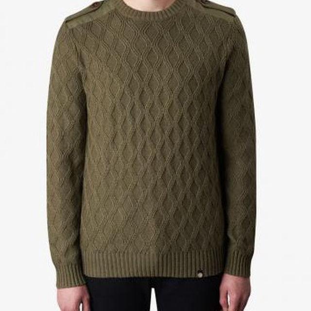 プリティーグリーン ケーブル編み ニット BEANIE(ブラック/モス) メンズのトップス(ニット/セーター)の商品写真