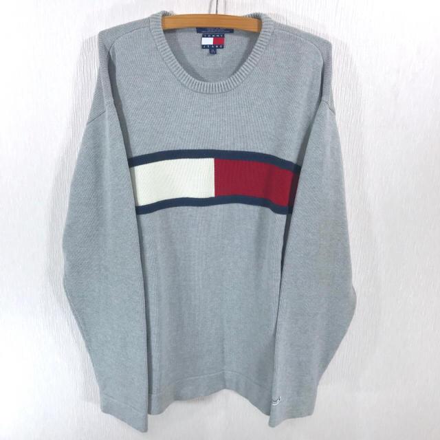 TOMMY HILFIGER(トミーヒルフィガー)の90s ♪ tommy jeans フラッグロゴ コットンニット グレー XL メンズのトップス(ニット/セーター)の商品写真