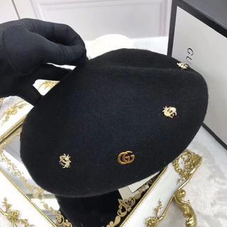 グッチ(Gucci)の再入荷★日本未発売★Gucci★Wool beret ベレー帽 黒(ハンチング/ベレー帽)