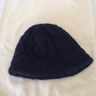 ミナペルホネン(mina perhonen)のmature ha ニット帽 紺色 navy 週末セールお値下げ!(ニット帽/ビーニー)