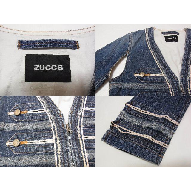 ZUCCa(ズッカ)のzucca ズッカ 変形デニムジャケット デニムカーディガン 赤耳 M レディースのジャケット/アウター(Gジャン/デニムジャケット)の商品写真