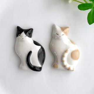 猫の薄型箸置き 2個セット 黒×茶 ハンドメイド  (カトラリー/箸)