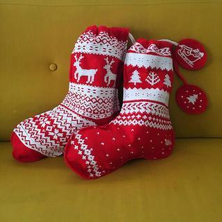 クツシタヤ(靴下屋)の靴下屋 Tabio クリスマスデザイン ショッパー2枚(ショップ袋)