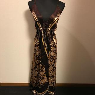 ザラ(ZARA)のゴールド スカーフドレス☆ロングドレス(ロングドレス)