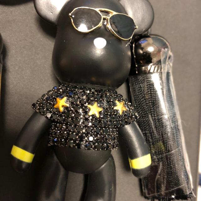 ❤️SALE❤️大人気❤️キラキラベアブリックストラップ付きキーホルダーブラック ハンドメイドのアクセサリー(キーホルダー/ストラップ)の商品写真