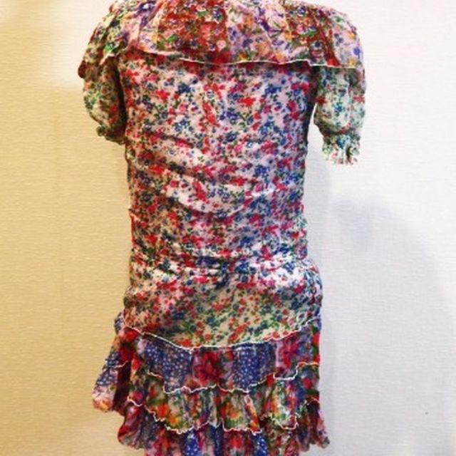 ラブガールズマーケット ワンピース 膝丈 花柄 半袖 パープル レディースのワンピース(ひざ丈ワンピース)の商品写真