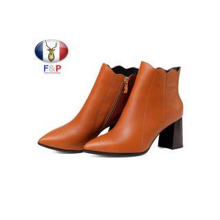ポインテッドトゥハラコレザーアンクルフラワーカットブーツ全2色(ブーツ)