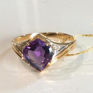 k18 アメジスト  ダイヤモンド リング 18金(リング(指輪))