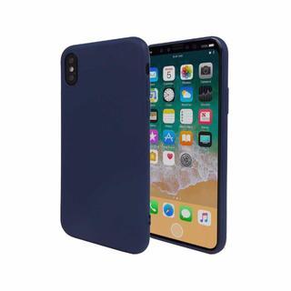 iPhoneX ケース TPUケース ストラップホール ソフトケース ネイビー(iPhoneケース)