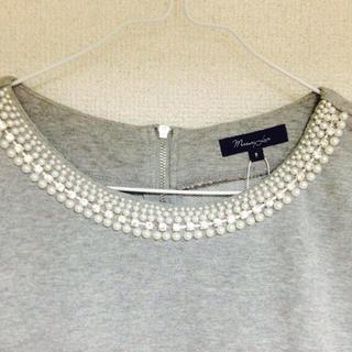 マーキュリーデュオ(MERCURYDUO)のMERCURYDUOビジュ付半袖TOPS(カットソー(半袖/袖なし))