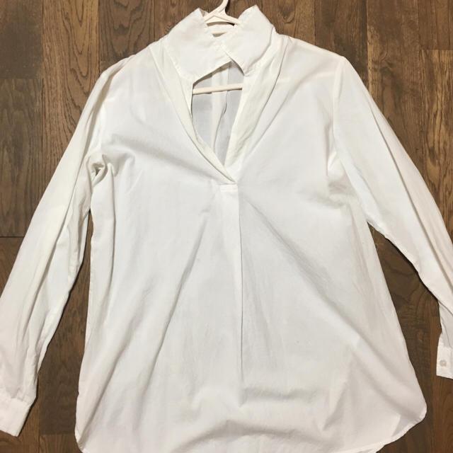オーガニックコットンフランネル白シャツ(無印良品)