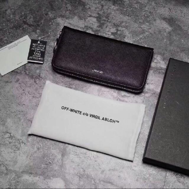 7e2b05d27ed5 OFF-WHITE - OFF-WHITE ストライプレザージップ長財布の通販 by ...