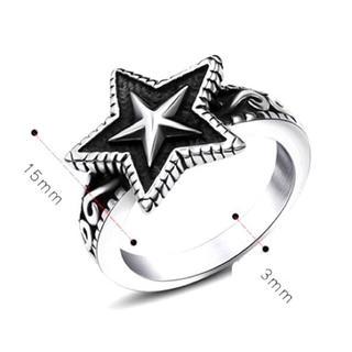 353  星☆着け心地良い!チタンステンレス黒墨コーティングスターリング星指輪 (リング(指輪))
