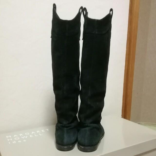 MARGARET HOWELL(マーガレットハウエル)の《お値下げ》MARGARET HOWELL  黒スウェードロングブーツ【23㌢】 レディースの靴/シューズ(ブーツ)の商品写真