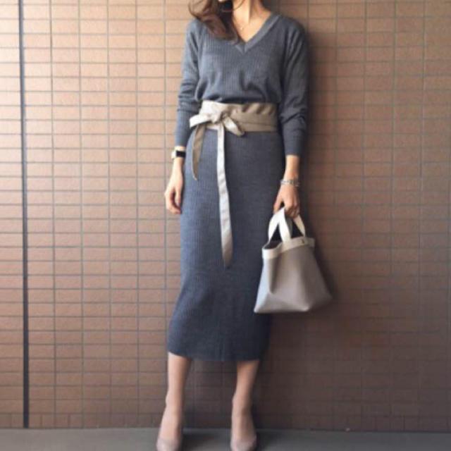 UNIQLO(ユニクロ)のユニクロ メリノリブブレンドニット スカート グレー セット レディースのスカート(ロングスカート)の商品写真