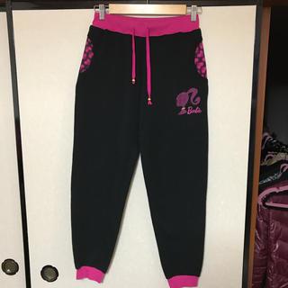 バービー(Barbie)の【みーたん様専用】バービー スウェット 裏起毛 パンツ 黒×ピンク Lサイズ(スウェット)